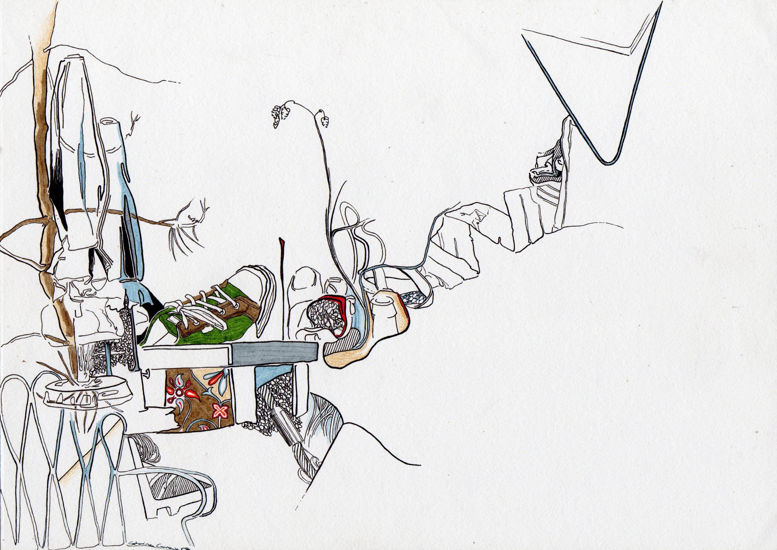 Composição 1_MEDIO_2007, caneta de feltro e lapis de cor, 21cm x 29,5