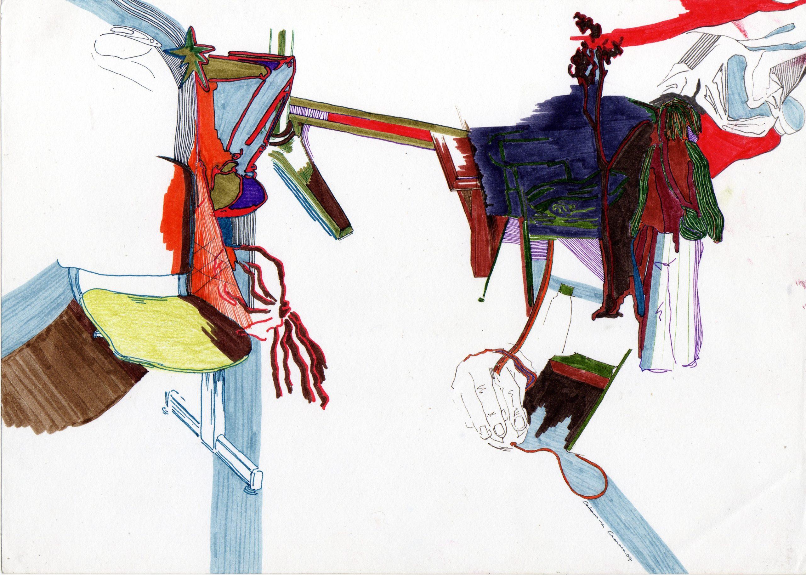 Composição 4_MEDIO_2007, caneta de feltro e lapis de cor, 21cm x 29,5