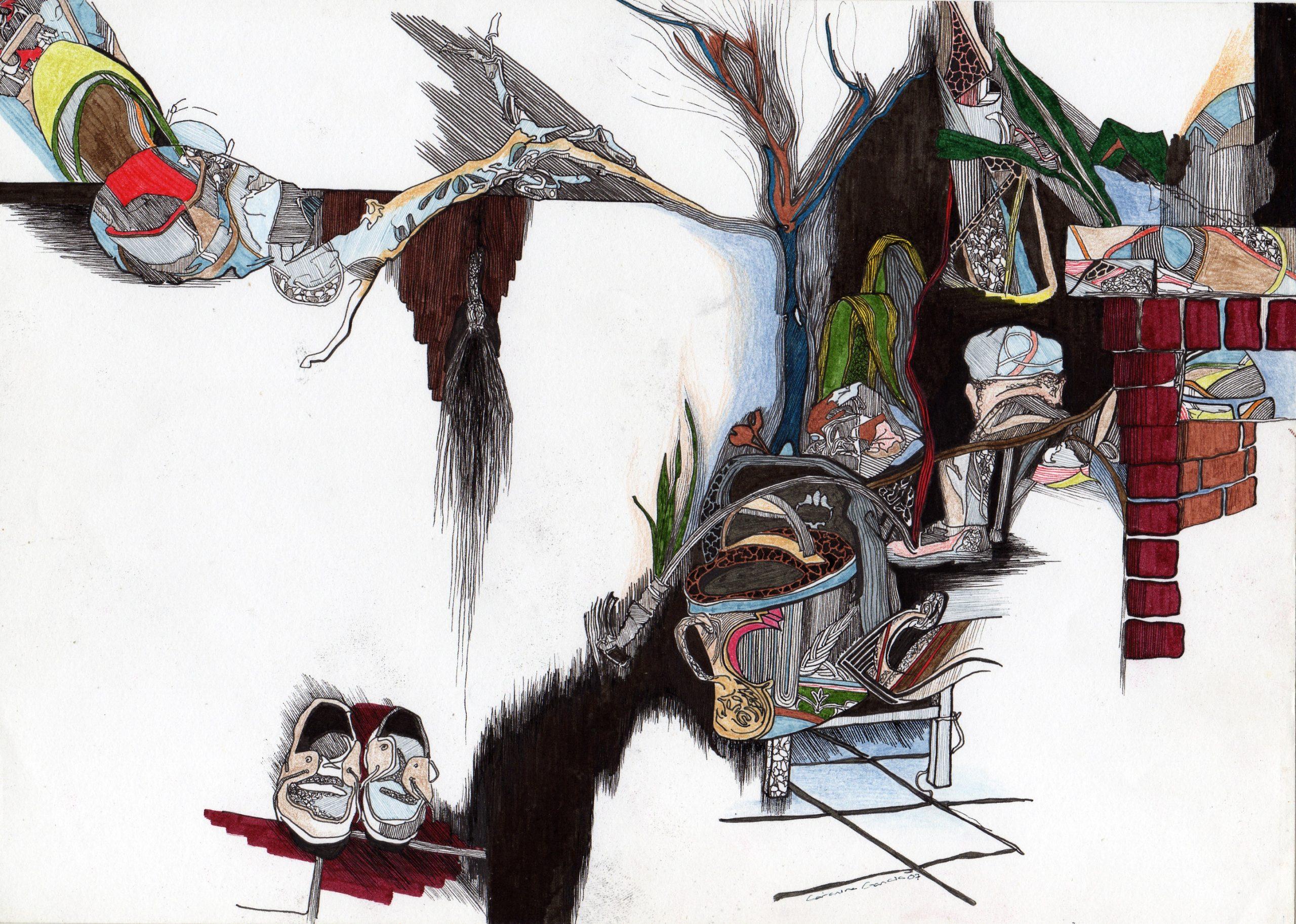 Composição 5_MEDIO_2007, caneta de feltro e lapis de cor, 21cm x 29,5